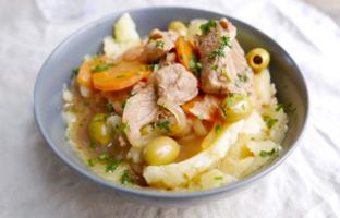 Sauté de veau aux olives & écrasé de pommes de terre