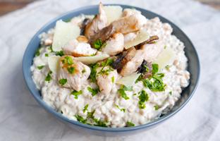 Risotto d'épeautre au poulet & champignons