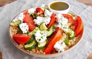 Epeautre courgettes ricotta tomates & vinaigrette basilic