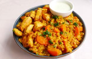 Risotto d'épeautre poulet curry carottes & céleri de Provence