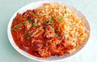 Chili con carne de porc & riz aux carottes